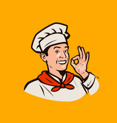 funny chef cooking restaurant menu logo or label vector image