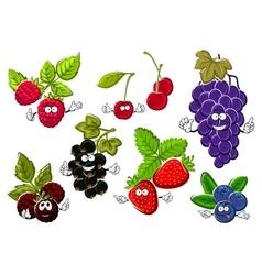 Garden berry fruits happy characters vector image
