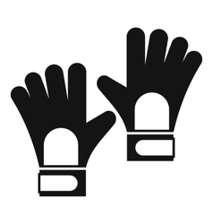 Gloves of goalkeeper icon simple style vector