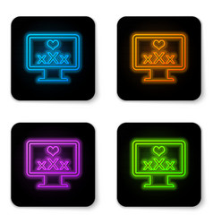 Glowing neon computer monitor with 18 plus vector