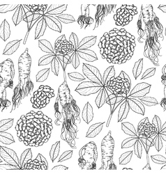 Graphic ginseng pattern vector