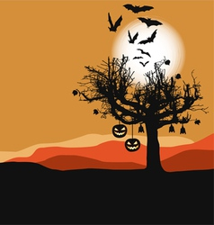 Halloween - scary tree in full moon vector image