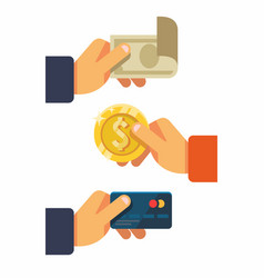 Hands holding credit card money bills and coin vector