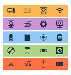 hardware icons set with cpu fan video camera vector image