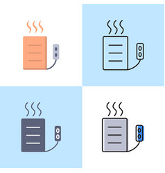 Heating pad icon set in flat and line style vector