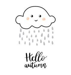 Hello autumn hand lettering phrase on orange vector