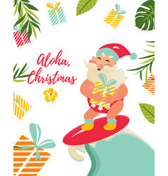 holiday greeting card with and aloha santa claus vector image
