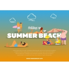 Holidays on summer beach banner vector