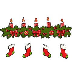 holly berry candle socks vector image