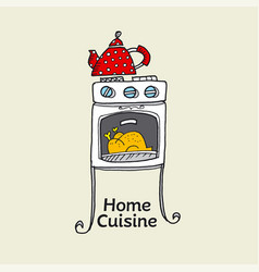 homemade cooking hand drawn color vector image