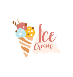 Ice cream logo element for restaurant bar cafe vector