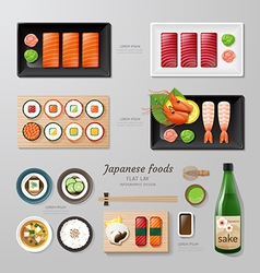 Infographic japanese foods business flat lay idea vector