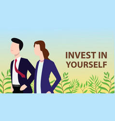 Invest in yourself concept with business man and vector