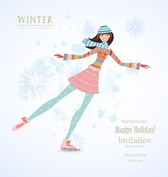 Invitation card with happy girl skating on ice for vector