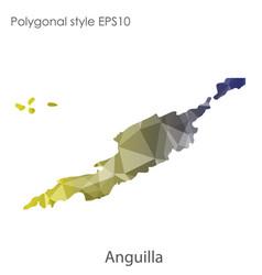 isolated icon anguilla map polygonal geometric vector image