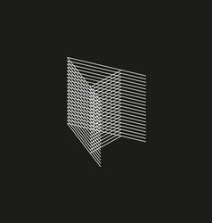 isometric geometric font line blend style letter vector image