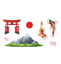 japanese torii gate sakura koi carp vector image