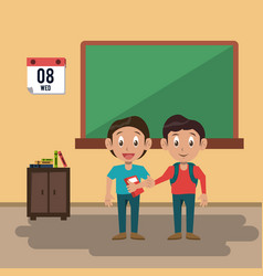 kids students at classroom vector image
