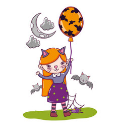 Kitten girl costume with bats and balloons vector