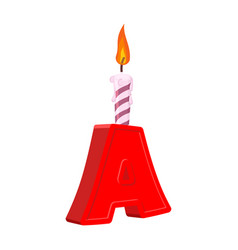 Letter a birthday font letter and candle vector