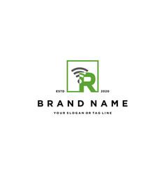 Letter r wireless logo design vector