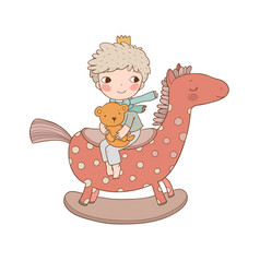 Little cute cartoon boy sitting on a rocking horse vector