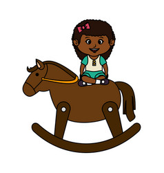 little girl with wooden horse vector image