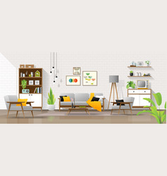 Living room in mid century modern style background vector