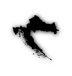 Map of croatia with shadow vector