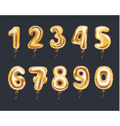 metallic gold letter balloons 123 golden numeral vector image