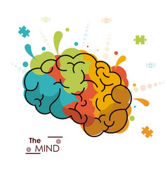 Mind colo brain creativity invention design vector
