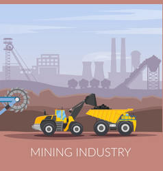 Mining industry flat composition vector