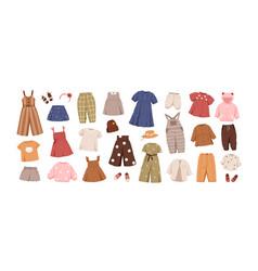 modern kids clothes set summer fashion garments vector image