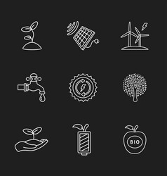 nine flat eco icons vector image