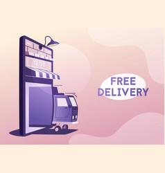 online delivery big smartphone turned vector image