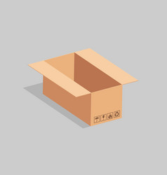 Open cardboard box with packing stickers vector