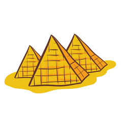 Painting three pyramids over white background vector
