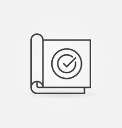 Paper with check mark linear concept icon vector