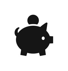 piggy bank with coin black icon accumulation vector image
