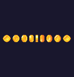 pixel game coins animation golden pixelated coin vector image