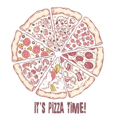 Pizza with different slices Sketched vector image