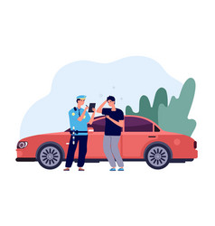 Policeman and driver car inspector write fine vector