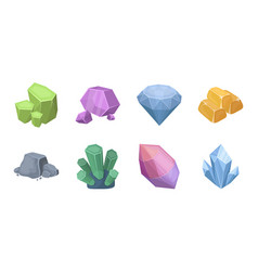 Precious mineral icons in set collection for vector