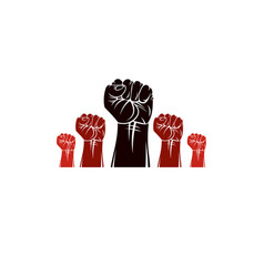 Raised clenched fists revolution idea symbol can vector