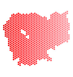 Red dotted cambodia map vector