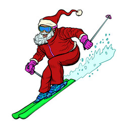 santa claus character goes skiing merry christmas vector image