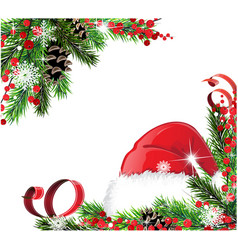 santa hat with fir tree branches vector image