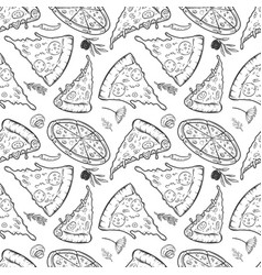 seamless pattern with pizza vector image