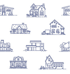 Seamless pattern with suburban houses drawn with vector