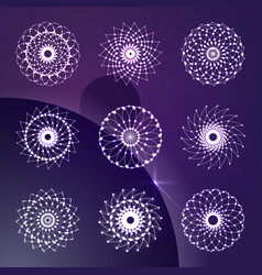 Set of abstract round ornament decorative indian vector